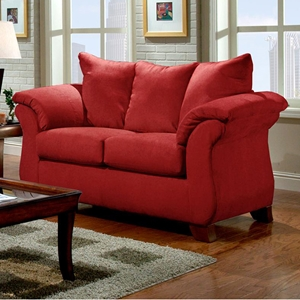 Payton Pillow Back Loveseat - Red Brick Microfiber