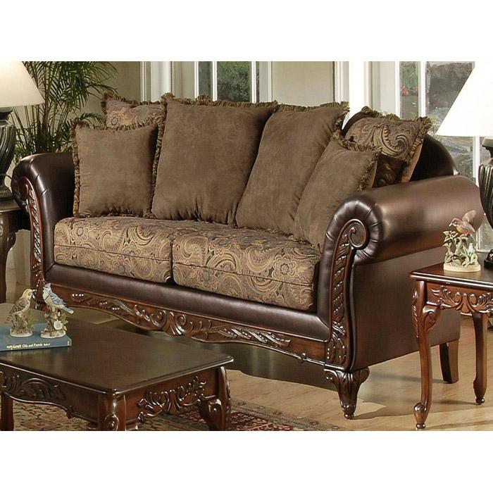 Serta Ronalynn Traditional Sofa With Carved Wood Trim