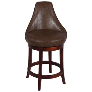 Daira 30 Swivel Bar Stool - Wenge, Antique Brown Leather