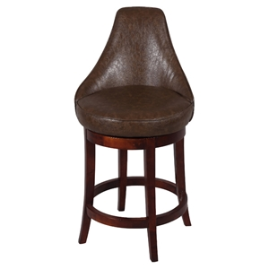Daira 26 Swivel Counter Stool - Wenge, Antique Brown Leather