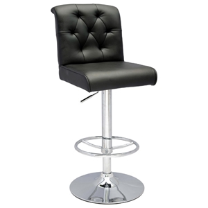 Neobe Adjustable Height Swivel Stool - Black, Chrome
