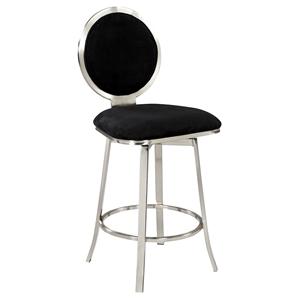Memory Swivel Counter Stool - Round Back, Black Seat, Brushed Nickel