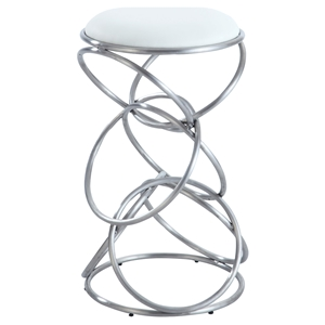 Interlocking Multi-Ring Bar Stool - White Seat, Brushed Stainless Steel