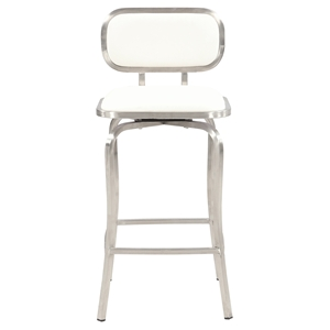 Swivel Counter Stool - White, Brushed Stainless Steel Base