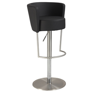 Swivel Stool - Bucket Seat style, Black Seat, Brushed Stainless Steel Base