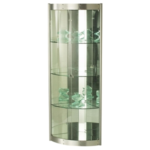 Corner Curio with Mirror Interior - Silver