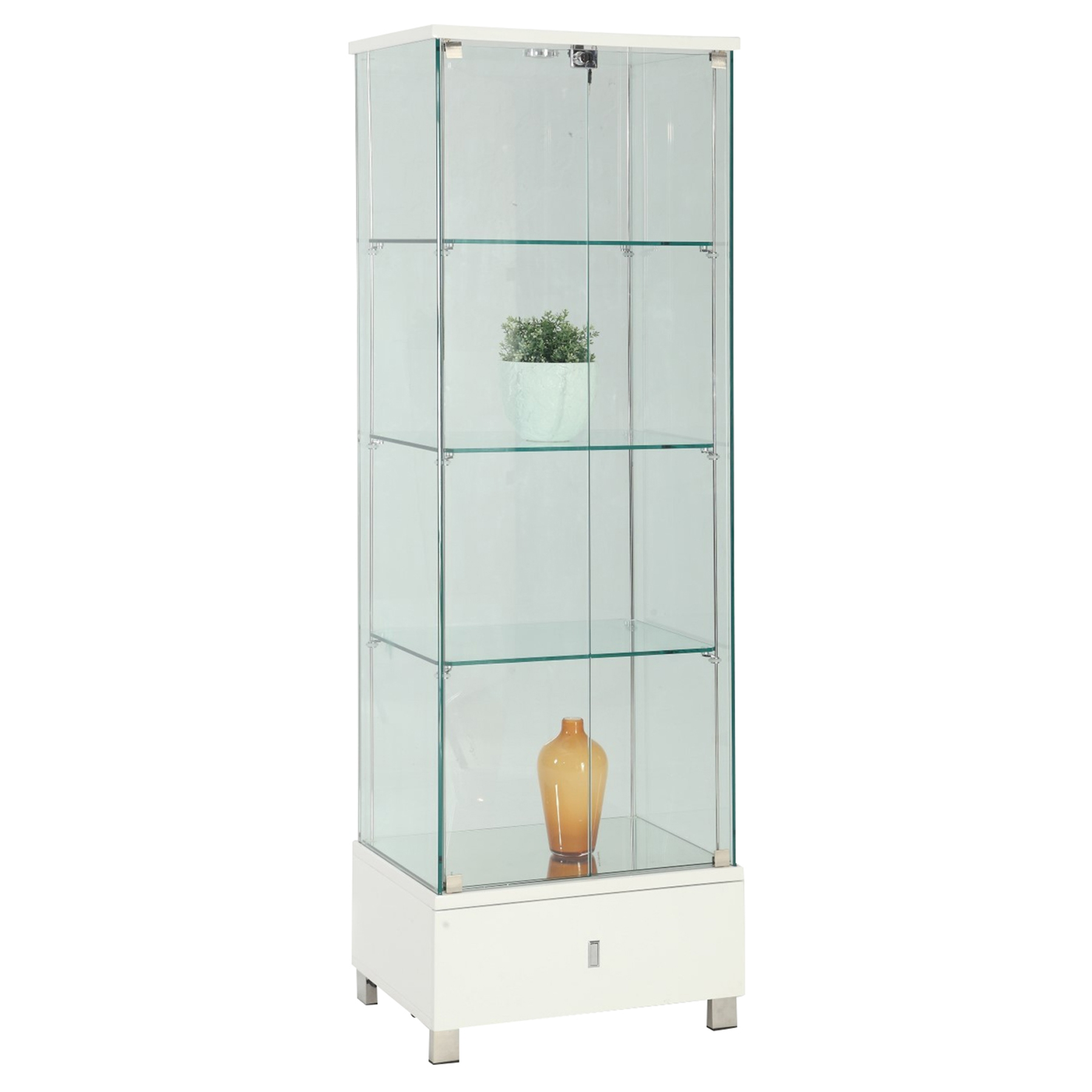 Glass Curio White 1 Drawer Dcg Stores