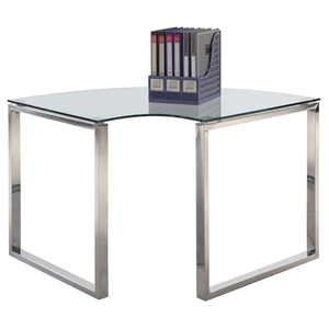 Corner Computer Desk - Glass Top, Stainless Steel Base