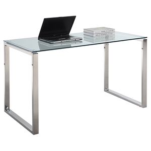 Larger Computer Desk - Glass Top, Stainless Steel Base