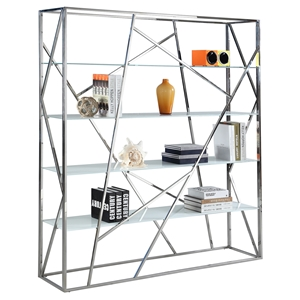 Metal Bookshelf - 4 Shelves, White Shelves, Stainless Steel