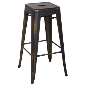 Vintage Galvanized Steel Bar Stool - Antique Copper, Backless (Set of 4)