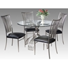 Ashtyn Round Beveled Glass Dining Set - CI-ASHTYN-DT-5-PC-SET