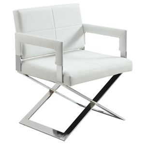 "Dakota Oversized ""X"" Base Arm Chair - White"