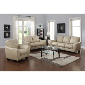 Fremont 3 Pieces Sofa Set - Bonded Leather, Taupe