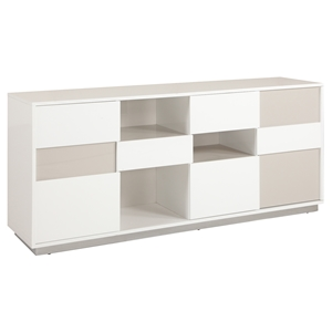 Gina Buffet - Open Storage, Gloss White and Gray