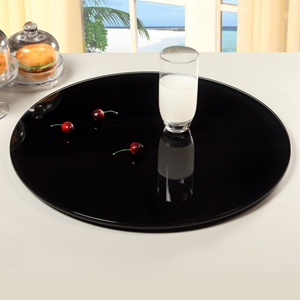 Rotating Tray/Lazy Susan - Round, Black Glass