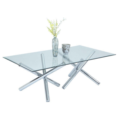 Leatrice Rectangular Dining Table Gl Top Chrome Base