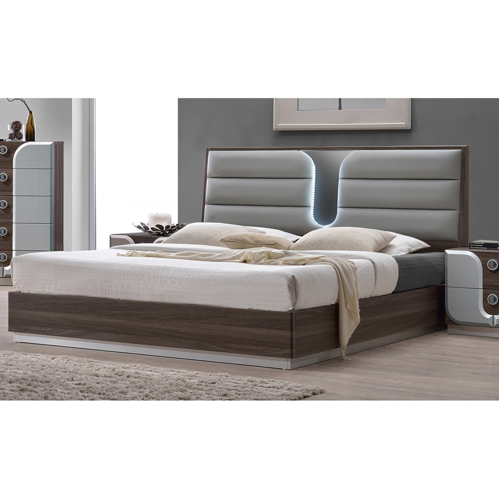 London Platform Bed Upholstered Headboard Led Light Beige Ci