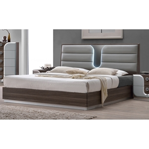 London Platform Bed - Upholstered Headboard, LED Light, Beige
