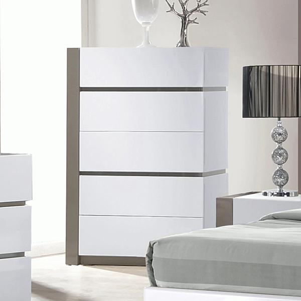 Manila Contemporary Bedroom Chest Glossy White 5