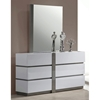 Manila 6 Drawer Dresser - Glossy White, Gray Accents - CI-MANILA-DRS