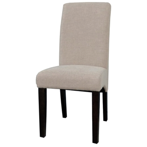 Marcella Parsons Chair - Satin Espresso, Beige Fabric