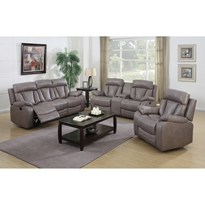 Modesto 3 Pieces Reclining Leather Air Sofa Set - Gray