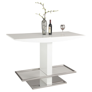 Orchard Rectangular Bar Table - White, Polished Stainless Steel