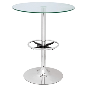Round Pub Table - Glass Top, Chrome Base