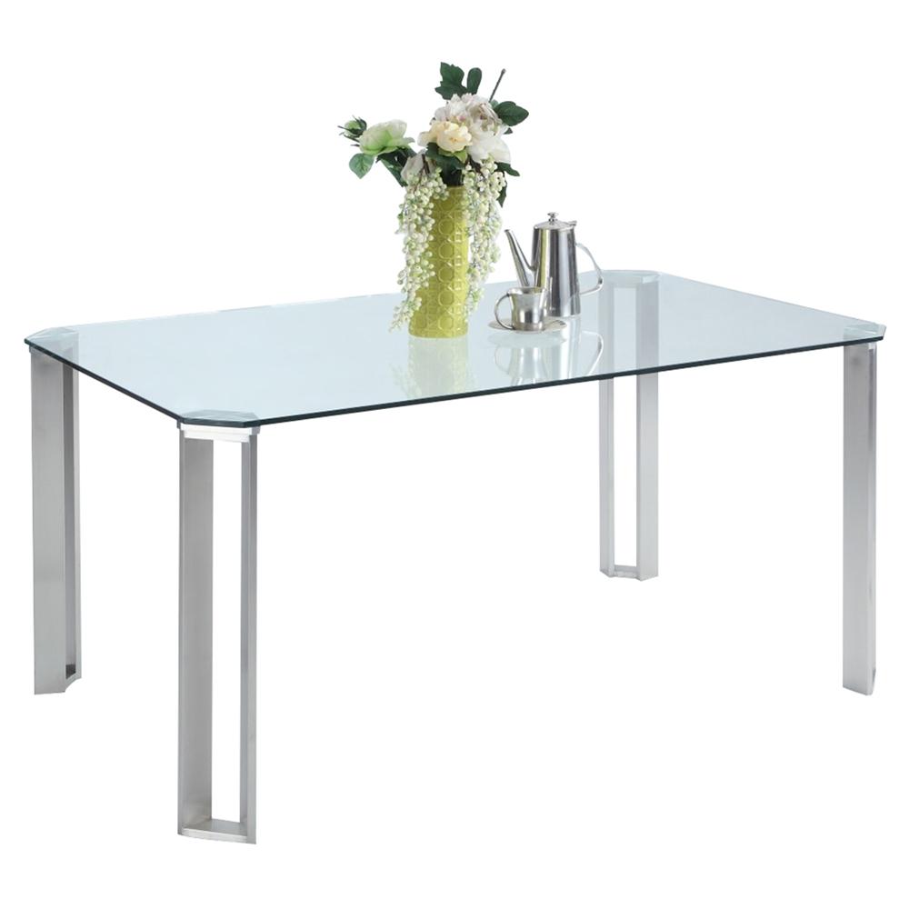 rhonda rectangular dining table  glass top brushed