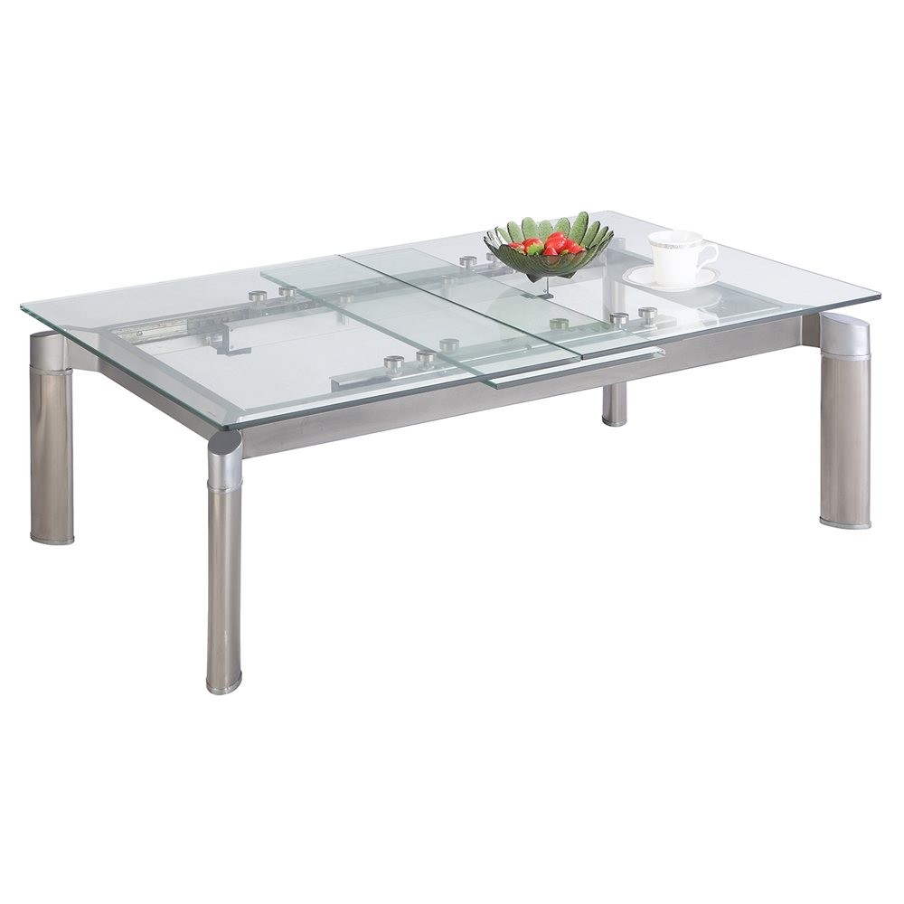 Tara Pop-Up Extension Cocktail Table - Clear   DCG Stores