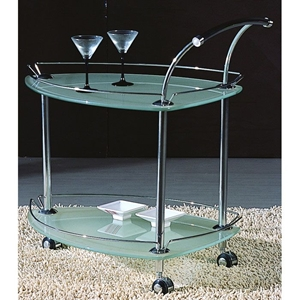 Oracle Triangular Glass Rolling Tea Cart