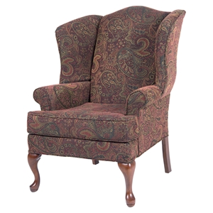 Paisley Wingback Chair - Cranberry, Cherry
