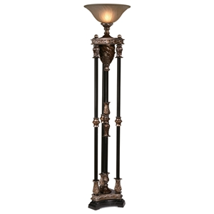 Silvered Bronze 4 Column Torchiere Uplight Lamp