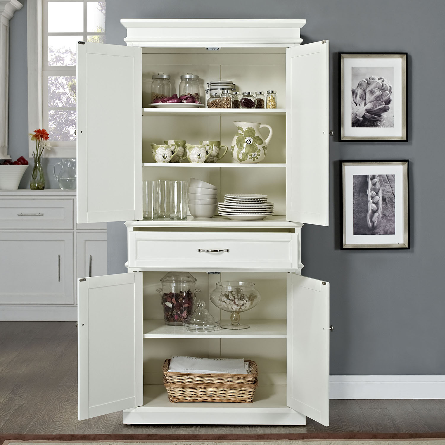 Parsons Pantry - Adjustable Shelves, White | DCG Stores