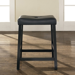 Upholstered Saddle Seat Bar Stool with 24 Inch Seat Height - Black (Set of 2)