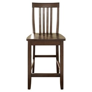 School House Bar Stool with 24 Inch Seat Height - Vintage Mahogany (Set of 2)