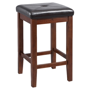 Upholstered Square Seat Bar Stool with 24 Inch Seat Height - Mahogany (Set of 2)