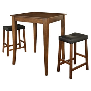 3-Piece Pub Dining Set - Cabriole Table Legs, Saddle Stools, Classic Cherry