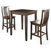 3-Piece Pub Dining Set - Tapered Leg, School House Stools, Mahogany - CROS-KD320007MA