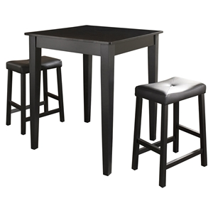 3-Piece Pub Dining Set - Tapered Leg, Saddle Stools, Black