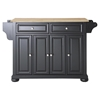 Alexandria Natural Wood Top Kitchen Island - Black
