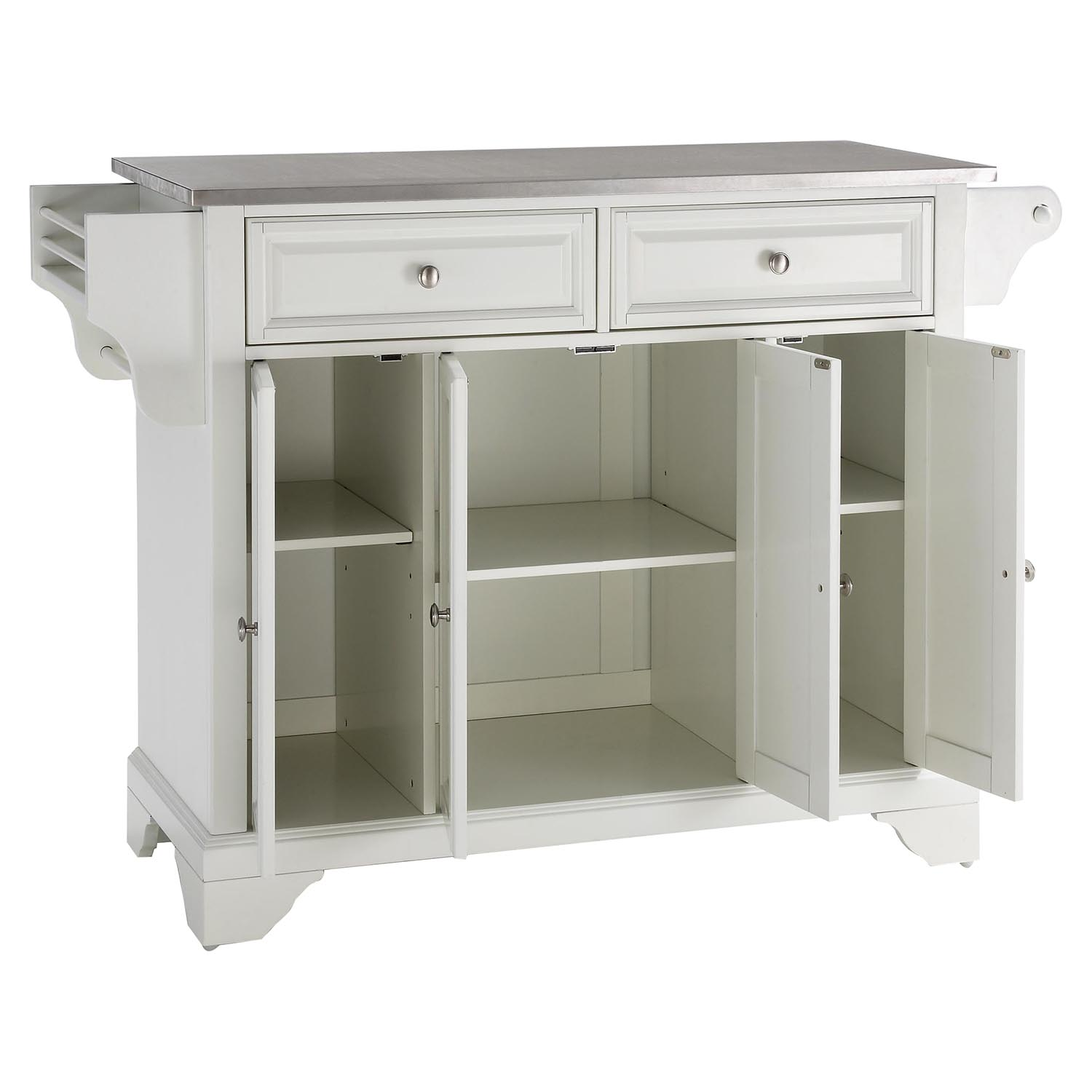 white kitchen island with stainless steel top lafayette stainless steel top kitchen island white dcg stores 4631