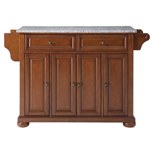 Alexandria Solid Granite Top Kitchen Island - Classic Cherry