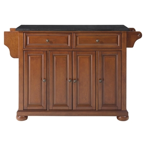 Alexandria Solid Black Granite Top Kitchen Island - Classic Cherry