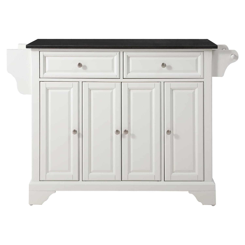 Lafayette Kitchen Island Black Granite Top White Finish
