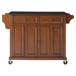 Solid Black Granite Top Kitchen Cart/Island - Casters, Classic Cherry