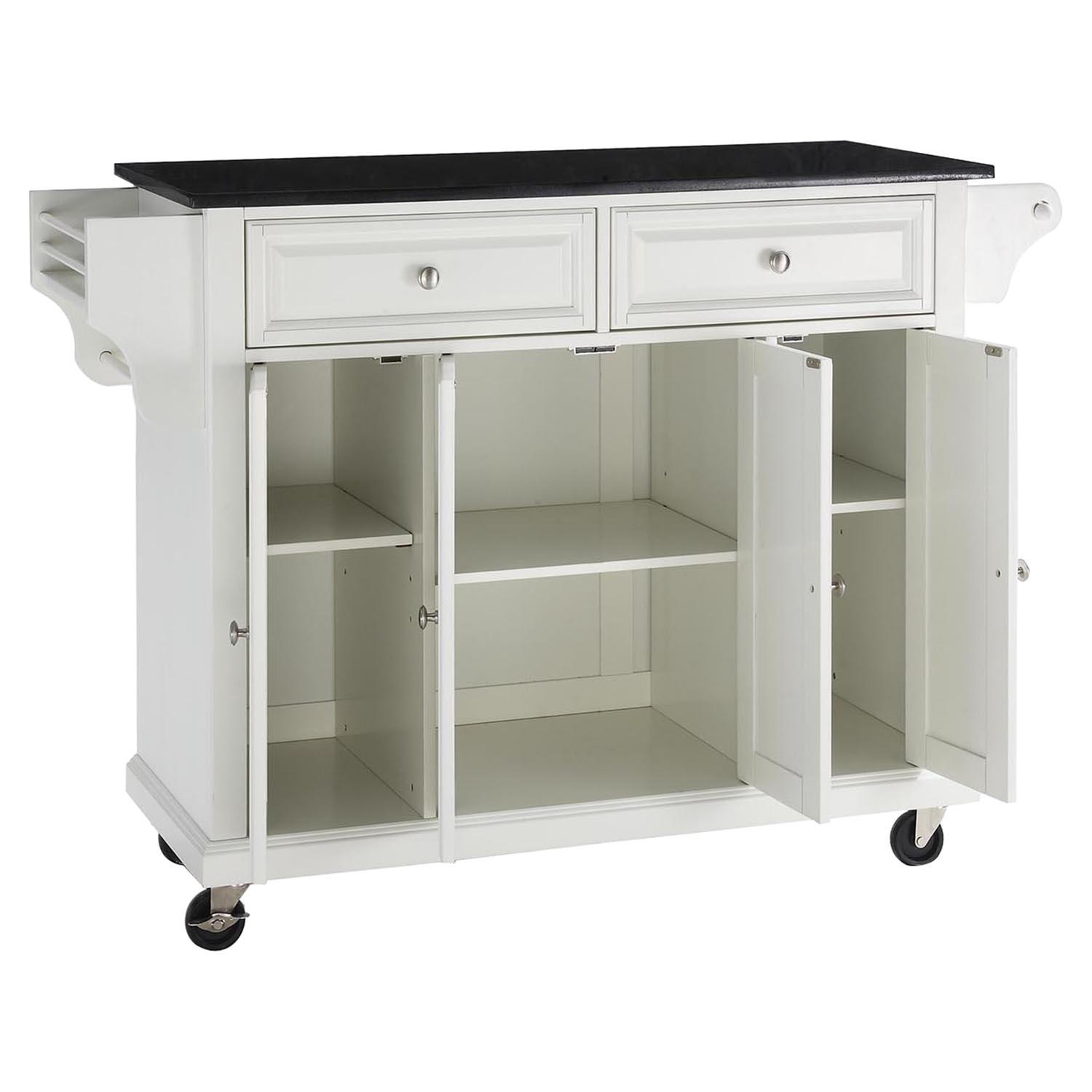 white kitchen island with granite top solid black granite top kitchen cart island casters white dcg stores 2026