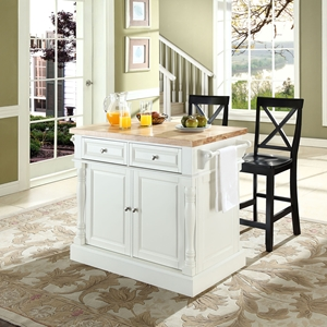 Butcher Block Top Kitchen Island with Black X-Back Stools - White
