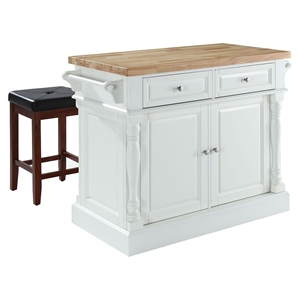 Butcher Block Top Kitchen Island with Square Seat Stools - White